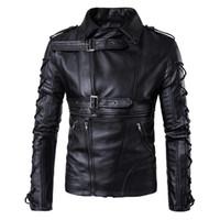 4xl erkek deri kış ceketi toptan satış-Erkek Bahar Motosiklet Ceketler PU Deri Sonbahar Kış Katı Bandaj Tasarımcı Mont Ceketler AB Boyutu