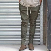 ingrosso esercito pantaloni jogger-HZIJUE dell'esercito pantaloni mimetici casuali scarni Zipper bottone Pantaloni felpa Hip Hop Solid alti pantaloni di strada Pantaloni Uomo Joggers