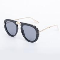 moda óculos grande venda por atacado-Designer de Óculos De Sol Dobrável Quadro Com Strass Moda Óculos De Sol Unisex Designer Grande Quadro Óculos Dobrados 6 Cores