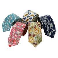мужские 6см шейные стяжки оптовых-Оптовая 6см свадебные цветочные хлопок галстуки для мужчины Gravatas Corbatas тонкий тощий печатных галстук ну вечеринку бизнес