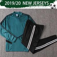 große anzüge großhandel-2020 RONALDO Pullover Anzug Grüne Fußball-Trikot 19/20 Dybala Hoch Collar Drill Anzug 2019 DE LIGT Fußballtraining Uniformen mit Hosen