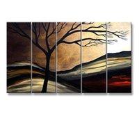 акриловая краска пейзаж оптовых-Ручная роспись дерева маслом на холсте современный абстрактный пейзаж акриловые картины домашнего декора стены искусства огромные 5 панельные картины