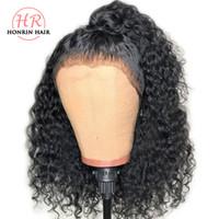 малайзийский виргинские волосы кружева парик фигурные оптовых-Honrin Hair 360 парик шнурка глубокий вьющийся малайзийский парик человеческих волос вьющиеся предварительно сорвал с волосами младенца 150% плотность отбеленные узлы
