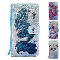 abdeckung leder karikatur großhandel-Glitter Wallet Case für iPhone X X Xs Max PU-Leder Flip Cover Case für iPhone 6s 7 8 plus Cartoon Phone Case