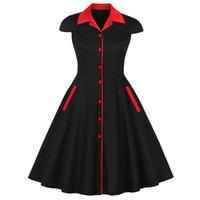 ingrosso vestiti di tunica nera-Donna Midi Abito vintage monopetto in cotone elegante donna casual tunica nero rosso patchwork anni '50 Hepburn retro party abiti dolci 3082MX