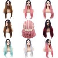 ingrosso lunghe parrucche colorate-Donne colorate parrucche diritte lunghe di divisione del centro luminoso di colore rosa resistenti sintetico nero parrucca 1 parte sacco di calore