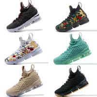 cheap for discount 7a036 79270 men basketball shoes lebrons großhandel-2018 Hohe Qualität XV LeBrons 15  GLEICHHEIT Schwarz Weiß Basketballschuhe