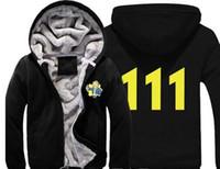 игры для мальчиков оптовых-Игра Fallout 4 Hoodie Pin Boy Save the World Print молния кардиган толстовка супер теплый сгущает Флисовое пальто для мужчин и женщин