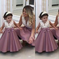 Wholesale mother girls pageant dresses for sale - Group buy Lovely Girls Pageant Dresses For Weddings V Neck Sleeveless Satin Pearls Bow Mother Daughter Dress Birthday Children Girls Flower Gowns
