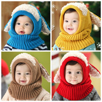 Wholesale crochet baby puppy hats for sale - Group buy Cute Winter Children s Bib Puppy Shawl Super Soft Wool Baby Earmuffs For Baby Boys Girls one piece scarf caps Newborn Photography C786