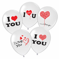 ingrosso valentines lattice palloncini-12 pollici Valentine Balloons Lettera inglese Ti amo Air Balloon Safety Round Latex Airballoon Vendita calda 14a BB