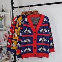 suéteres de labios al por mayor-2019 mujeres del invierno con cuello en V suéteres Cardigan de punto Red Lips Animal suéter superior de manga larga para mujer Casual Otoño suéter femme