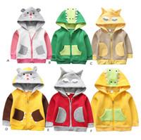 Wholesale kids boy girl style clothing for sale - Children dinosaur Hooded Coat spring autumn Outwear cartoon kids animal Hoodies Jacket fashion baby boys girls Clothing C5969