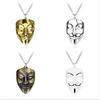 pingentes máscara venda por atacado-V-Vendetta Mask Colar Pingente Hot Hiphop Moda Colares Correntes de Prata Jóias Longo Colar de Pingente de Moda Jóias para Mulheres Homens