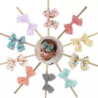 el yapımı butik yaylar toptan satış-10 Stil El Yapımı Butik Naylon Bandı Kumaş Yay ile Bebek Kız Saç Aksesuarları için Saç Çiçekler Kafa Bandı Toptan