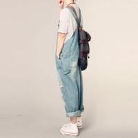 süngerimsi kot pantolon toptan satış-Kadınların Gündelik Gevşek Denim Tulum bayan Boy Boy Delik Baggy Jeans Geniş Bacak Pantolon Kadın Için Ripped