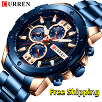 Wholesale curren watch band for sale - Group buy CURREN Watches Men Stainless Steel Band Quartz Wristwatch Chronograph Clock Male Fashion Sporty Watch Waterproof