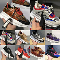 Wholesale black link chains resale online - New ACE Luxury Chainz Chain Reaction Love Sneakers Sport Fashion luxury designer Casual Shoes black Trainer Lightweight Link Embossed Sole