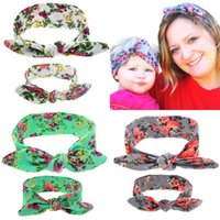 Wholesale green flowers hair decorations for sale - Group buy Parent child Rabbit Ears Headband Designer Headband Printing Flowers Decoration Elastic Force Knotted Headwear Hair Band Suit