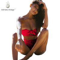 красный лук бикини оптовых-Adriana Arango 2019 Swimwear for Women Bow Knot Bandeau Bikini Solid Lace Up Red High Waist Swimsuit Summer Beachwear Biquini