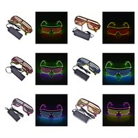 luz ciega al por mayor-Dos modos de color Blinds EL Neon LED Flashes Gafas Iluminación luminosa Gafas de DJ que brillan intensamente Clásico Carnival Dance DJ Bar Party Regalos