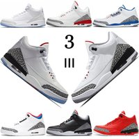mens ligne bleu achat en gros de-Nike air jordan retro 3 Hot Sale JTH men Basketball Shoes designer mens Free Throw Line Black Cement Grateful Korea Tinker QS Katrina Pure White outdoor airjordan sneakers