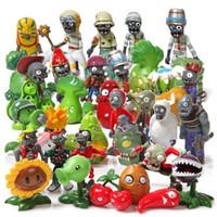 conjuntos de juguetes de plantas vs zombies al por mayor-Hot 40 unids / set Plants Vs Zombies Pvz Toy Plants Zombies Pvc Figuras de Acción Muñeca de Juguete Set Para la Colección Decoración Del Partido Y19051804