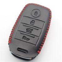 Wholesale optima cars resale online - XIEAILI Genuine Leather Car Styling Button Keyless Entry Smart Key Case Cover For Kia Sorento Rio Rio5 Optima No Keychain M314