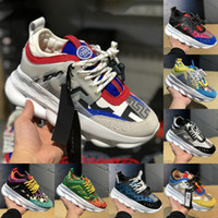 Wholesale orange sneakers discount resale online - New Men Women Luxury Designer Shoes Discount Price Cheap Chain Reaction Multi Color Rubber Suede Fashion Trainers Sneakers Casual shoes