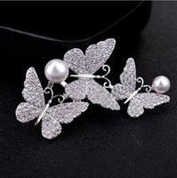 ingrosso sposa da micro vestito-Inlay Micro Zircon Butterfly Spilla interamente gioiello femmina High End Perla Spilla Sposa Abito da sposa Spilla ornamento