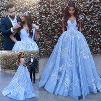 línea árabe vestidos de fiesta al por mayor-Sky Blue Árabe Dubai Vestidos de baile Vestidos para ocasiones especiales A-Line Cap manga Apliques de encaje Vestidos de noche de fiesta largos