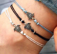 Wholesale lace anklets women for sale - Group buy Boho Anklet for Women Fashion Black White Wax String Lacing Foot Jewelry Beads Bracelet Fashion Beach Jewelry