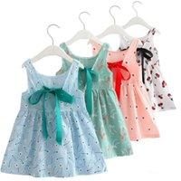 bebek parti elbisesi desenleri toptan satış-Toptan Bebek Kız Elbise Retro Desen Pamuk Karışımı Örgü kızın Bluz Pamuk Backless Kolsuz Prenses Parti Elbise