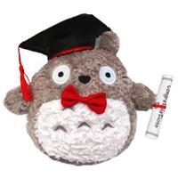 presente da boneca da graduação venda por atacado-1 pcs 20 cm Plush Doctor Dr. Totoro Aprender A Ler Totoro Chapéu de Pelúcia Boneca de Brinquedo de Presente de Pelúcia Doctorial Chapéu Totoro Com Arco