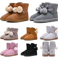 Wholesale girls size snow boots for sale - Group buy 2020 women boots Australia Classic snow Boots WGG tall real leather Bailey Bowknot girl winter desinger Keep warm size