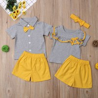 Wholesale baby boys little big resale online - Multitrust Brand Family Matching Kids Baby Girl Boy Clothes Set Big Little Sister Brother Tops Yellow Shorts Outfit Summer Cute Clothes