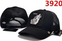 hayvan nakışı toptan satış-Yüksek kalite lüks tasarımcı Unisex açık Kaplan kurt ayı Hayvan nakış beyzbol şapkası retro moda golf vizör kemik casquette baba şapka