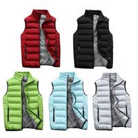 красное мягкое пальто оптовых-Men's Casual Vest Jacket Thickened Sleeveless Padded Warm Anti - Static Breathable Coat Autumn Winter Red Gray Black Blue Green