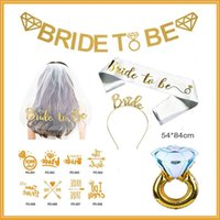 Wholesale shoulder veils online - Bride To Be Letter Shoulder Strap Metal Head Hoop Veil Bachelorette Party Decoration Golden Diamond Ring Decor Suit hzD1