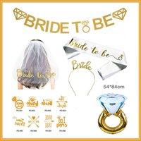 ingrosso velo di cinghia-Sposa To Be Lettera tracolla Metal Head Hoop Veil Addio al nubilato Decorazione Golden Diamond Ring Decor Suit 22hzD1