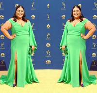 robe de bal sexy vert pomme achat en gros de-2019 robes de soirée sirène vert pomme sexy split plus la taille de l'épaule formelle partie de bal de promo sur mesure manches longues robe tapis rouge