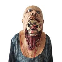 korkunç zombi maskeleri toptan satış-Cadılar bayramı Maskesi Kafatası Korku Maskesi Korkunç Emülsiyon Cilt Zombi Lateks Kostüm Masquerade Doğum Günü Partileri Karnaval ...