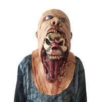 máscaras para masquerade aniversário partido venda por atacado-Máscara de Halloween Máscara de Horror Do Crânio de Emulsão Assustadora Pele de Látex Zombie para Traje Masquerade Festas de Aniversário de Carnaval Maks