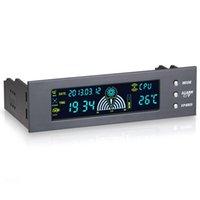 цифровой терморегулятор lcd оптовых-5.25 inch 12V PC Computer Fan Controller 3 контроллер скорости вентилятора датчик температуры ЖК-цифровой дисплей передняя панель для ПК