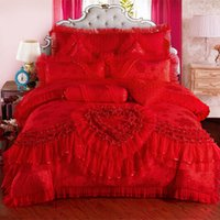 Wholesale lace bedding sets king size resale online - 4 red pink Jacquard Silk Cotton Luxury wedding Bedding Set King Size Queen Bed Set Lace Duvet Cover Bed Sheet Pillowcas