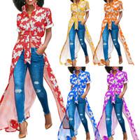 blusa de flores rojas al por mayor-Blusas de las mujeres Camisas sexy Camisas con cuello caído flores estampadas azul verde rojo casual camisa asimétrica casual para damas