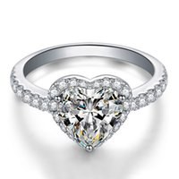 anel de pedra branca prata 925 venda por atacado-3 Cores Do Coração CZ Anel De Casamento De Diamante para As Mulheres Branco Rosa Amarelo Pedra 925 Sterling Silver banhado a Dom Anel de Jóias conjunto de Varejo