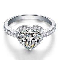 ingrosso scatola di anelli di rosa bianca-Anello nuziale di 3 colori cuore CZ diamante per le donne Bianco rosa giallo pietra 925 anello di gioielli regalo placcato argento Set di scatole al dettaglio