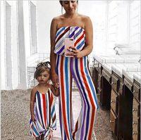 kızlar için renkli pantolon toptan satış-Bebek Kız Giysileri Anne Kızı Elbiseler Kapalı Omuz Tulum Renkli çizgili pantolon Aile Eşleştirme Giyim Mama Çocuklar Kızlar Aile Hedi ...