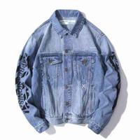 chaqueta de mezclilla otoño mujeres al por mayor-2019 otoño nueva chaqueta de mezclilla de diseñador para hombre APAGADA básica flecha carta graffiti chaquetas azul lavado denim moda hombres mujeres streetwear la chaqueta